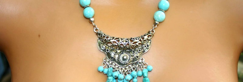 ' One of a kind'  Necklace - Turkoois & Howliet