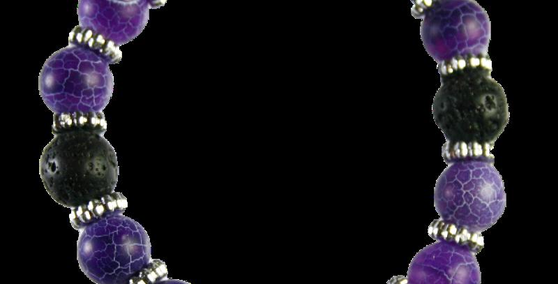 Flexibele Boho armband. Lava & Crackle Purple