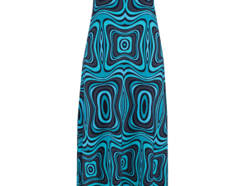 Long dress Wave Black Turquoise Black