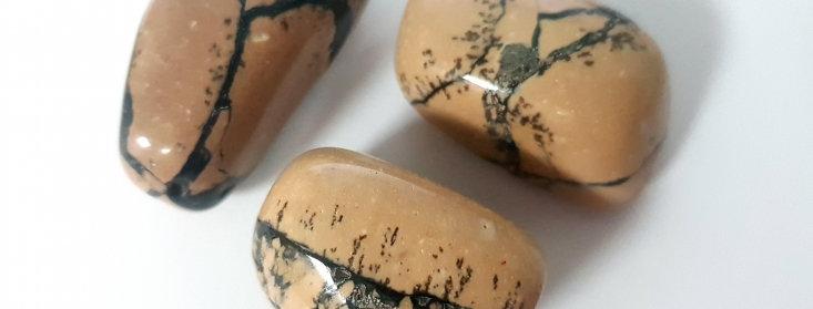 Dendriet Jaspis Knuffelsteen in buideltje en beschrijving