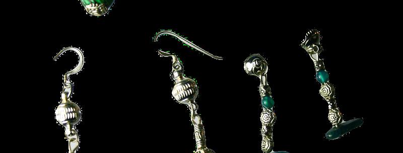 Reversibel oorbellen. Agaat & Aquamarijn  Set van 3.