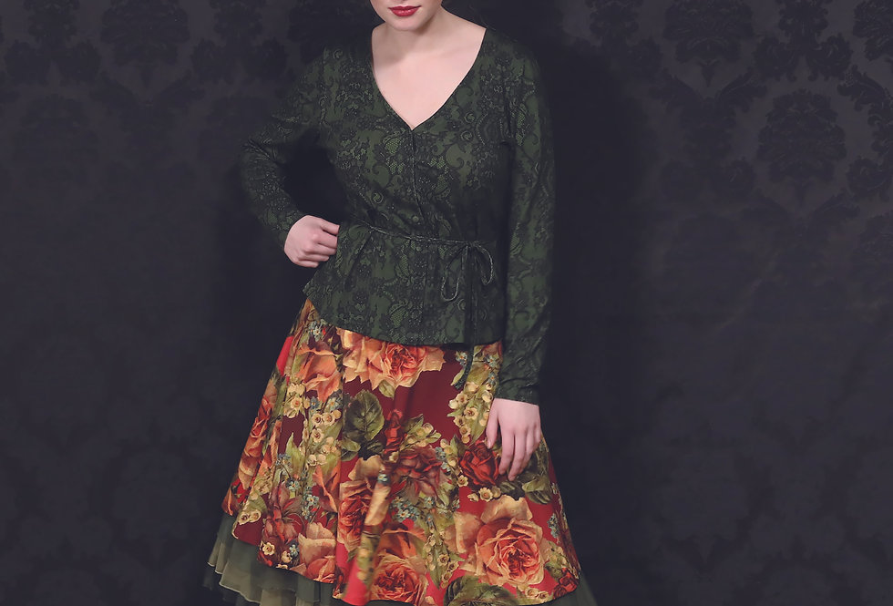 "Lalamour ""Lace""  V-Top Green"