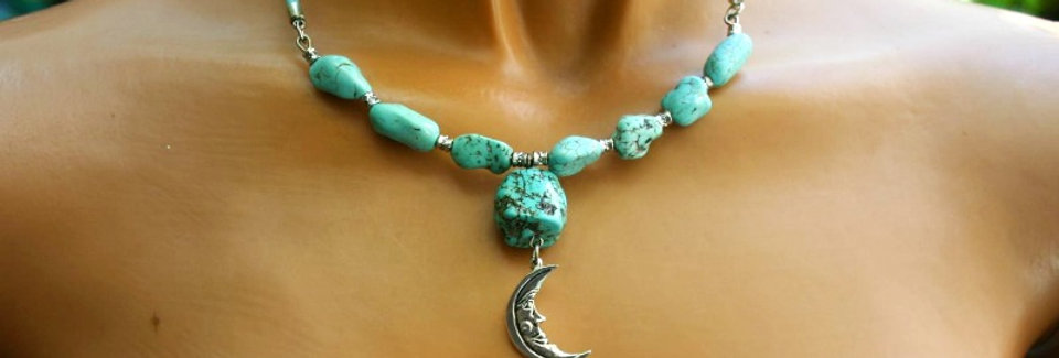 ' One of a kind'  Necklace - Turkoois