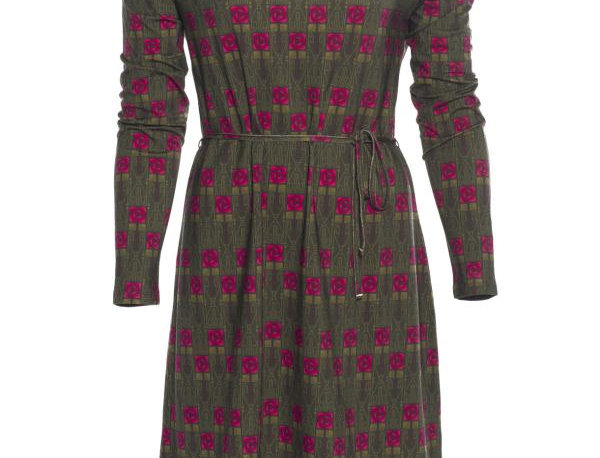 """LaLamour Tunic Dress Long Sleeves """"Square Rose"""" Green"""