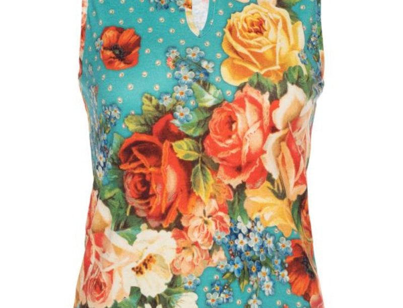 Lalamour Sleeveless Top Roses Turquoise