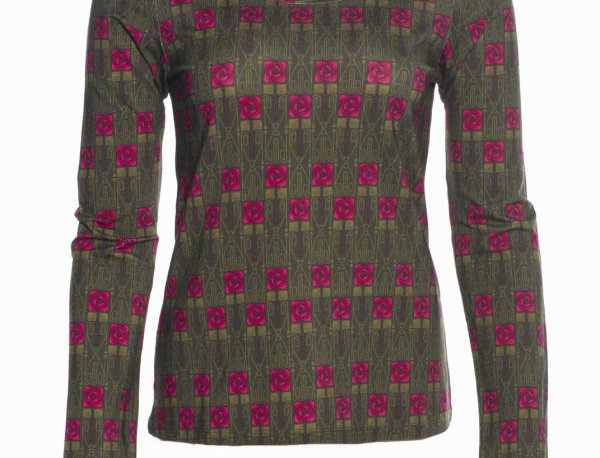 "LaLamour T-Shirt long sleeves ""Square Rose"" Green"