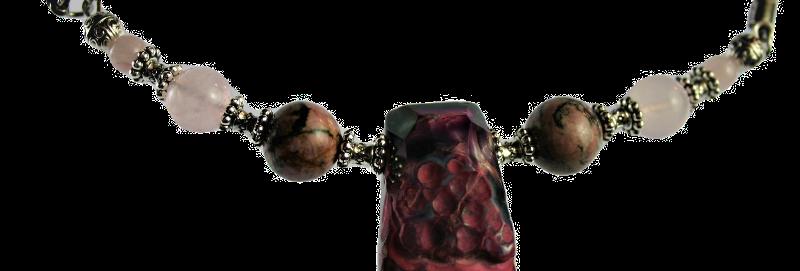 Boho Choker Agaat met Rozekwarts & Rhodoniet