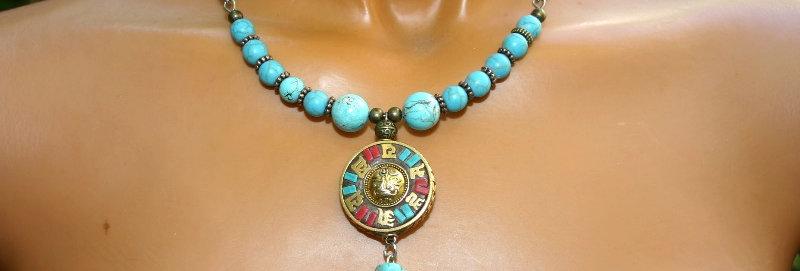 ' One of a kind'  Necklace -Tibetaanse Hanger, Turkoois & Howliet