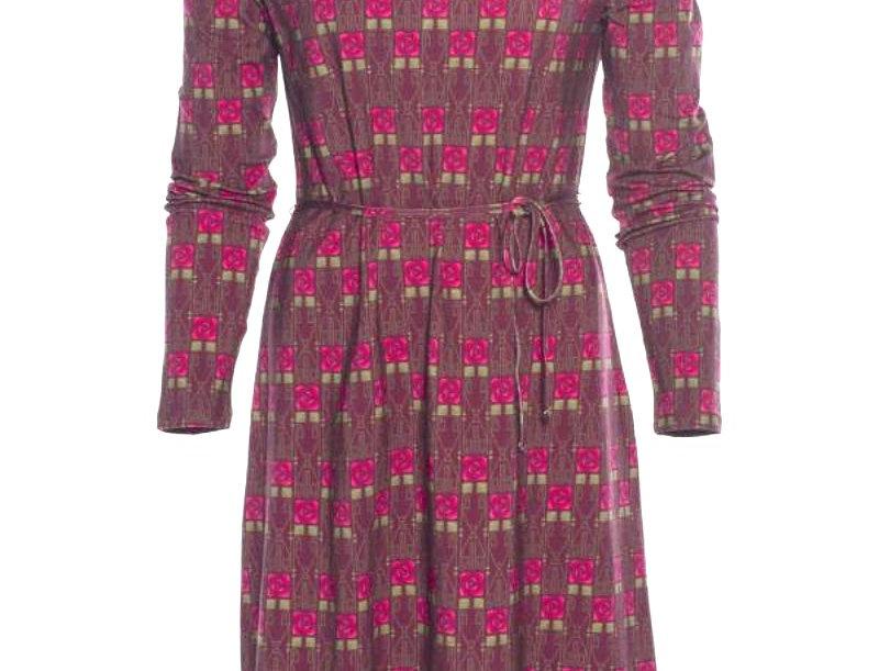 "LaLamour Tunic Dress Long Sleeves   ""Square Rose"" Bordeaux"