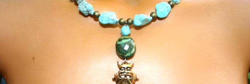 Boho Choker Turkoois & Beschermend Amulet