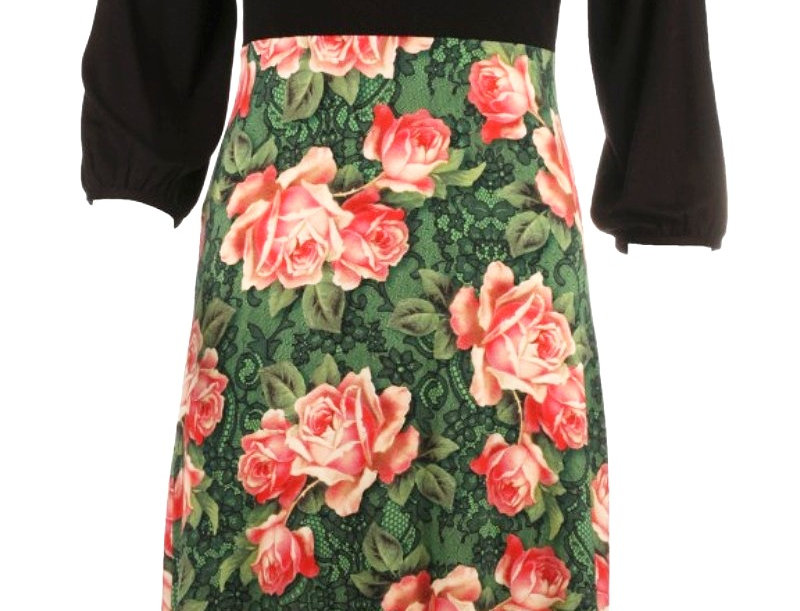 "LaLamoure Dress ""Wild Roses"" Green Black"