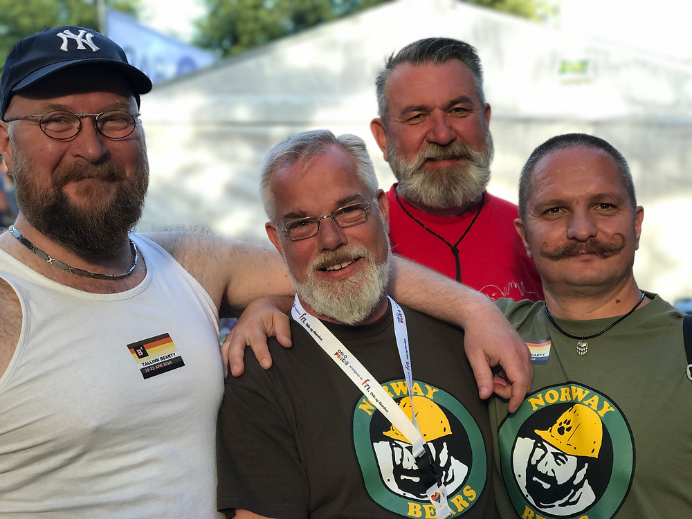 Tallinn Bearty's Alvar (left) and Dmitry (rear) with Knut (Norwegian Bearclub, middle) and Bob (Moscow Bears, right)