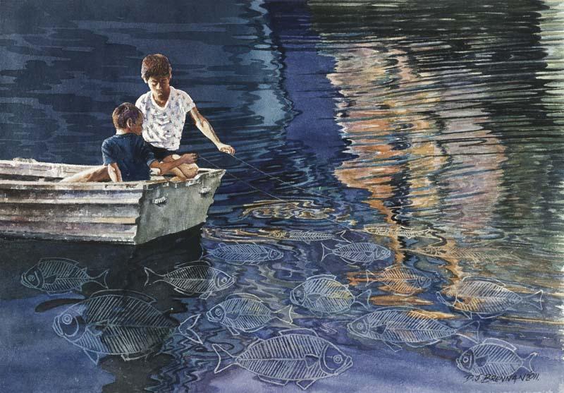 Boys Fishing in a Boat Walpole WA