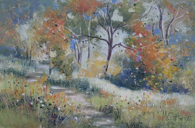 Flowering Gum Trees was rendered using a palette knife along with a few brushstrokes for tree trunks, branches and foreground grasses.