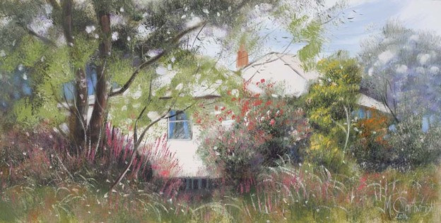 What better time to paint these enchanting cottages than mid spring when their gardens are in full bloom.