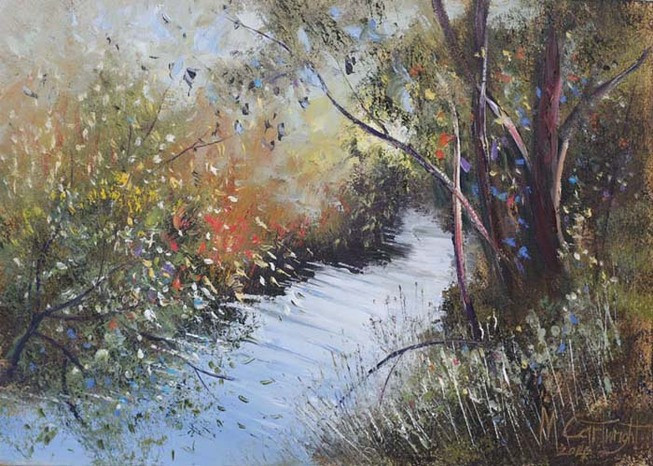 This Australian impressionism painting was rendered using palette knife only.