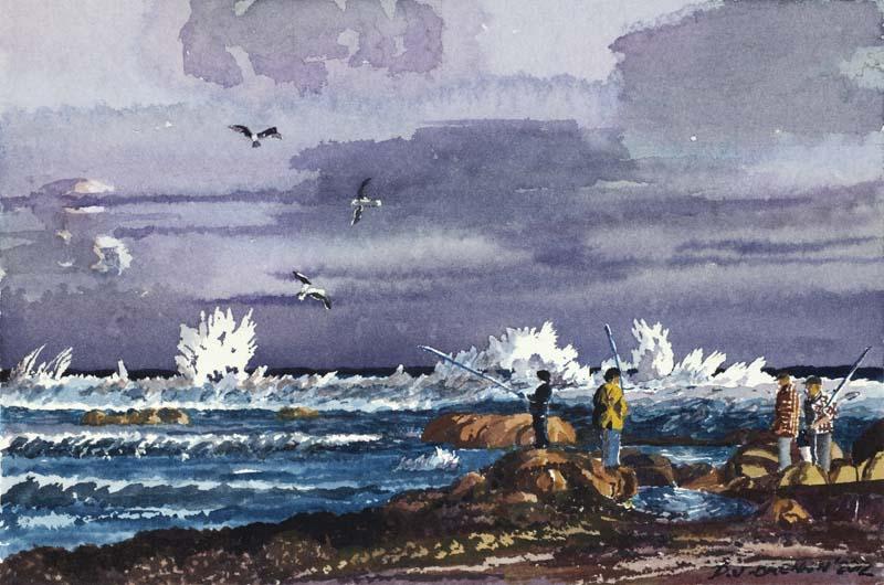 Fisherman on Rocks Peaceful Bay WA