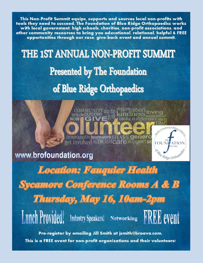The Foundation of Blue Ridge Orthopaedics to host non-profit leadership summit in May