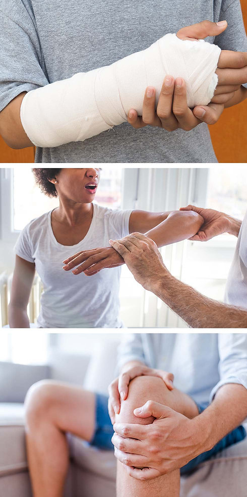 Collage of photos depicting common orthopedic injuries