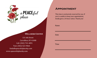 A PEACEful Place Appointment Card