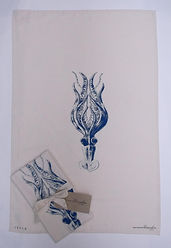 Hand printed Squid Tea Towel