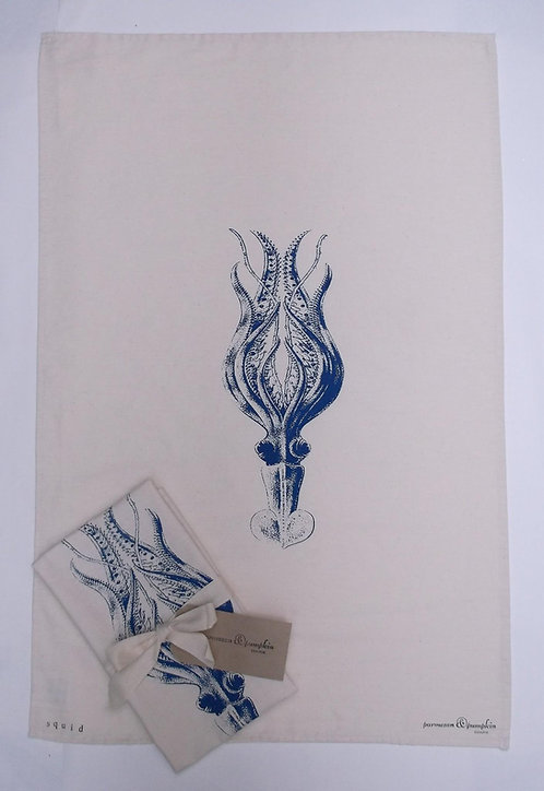 Quality Hand Printed Tea Towel Squid UK Made