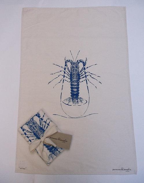 Quality Hand Printed Crayfish Tea Towel UK Made
