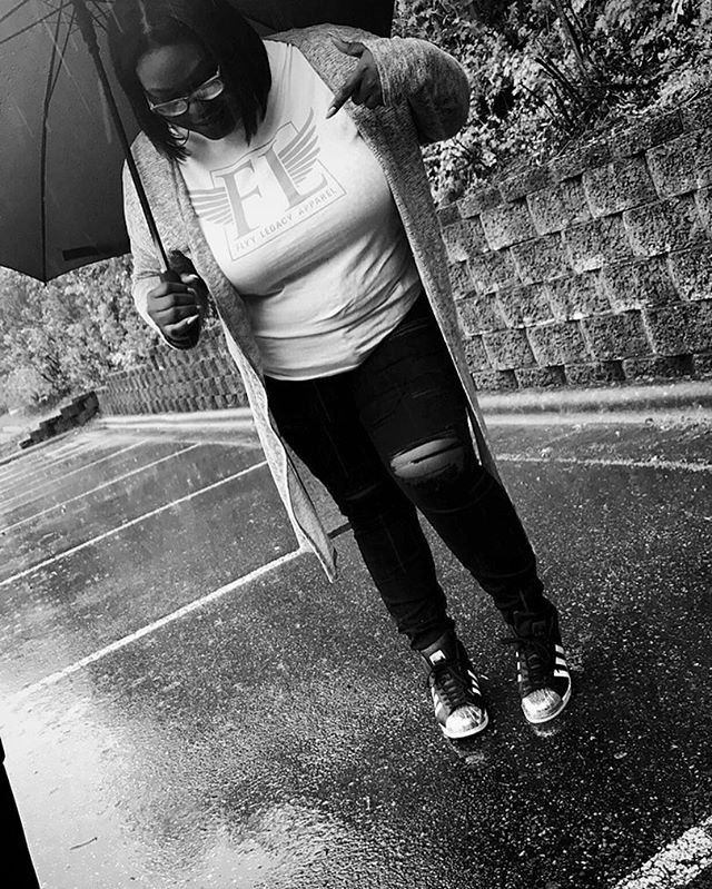 Our sis _stylesbycanisha rocking the brand even in the rain! ☔️ ladies if you're in the Greensboro or surrounding area and you need a hair s