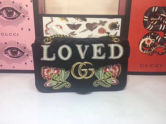 GUCCI Velvet Pearl Medium Marmont Shoulder Bag Black