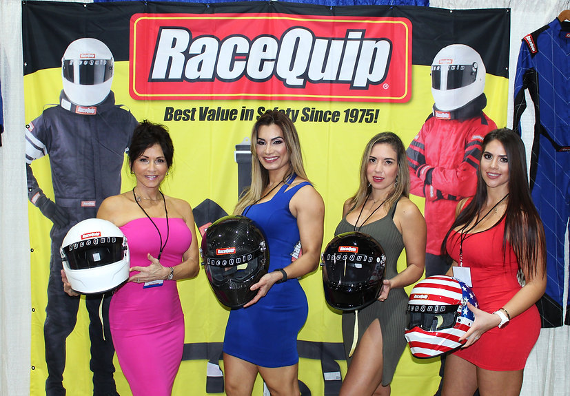 RaceQuip backdrop display banner at Miami trade show