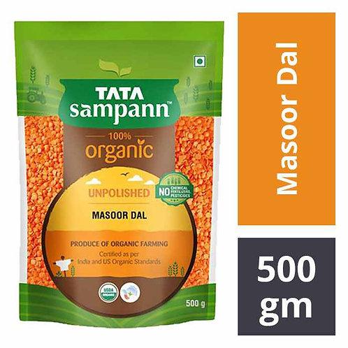 Tata Sampan 100% Organic Unpolished Masoor Dal : 500 gms