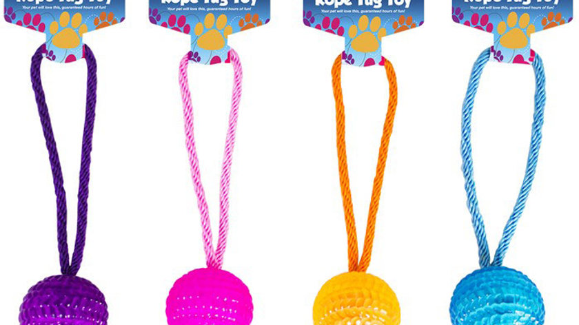 Rope tug toy with tpr ball