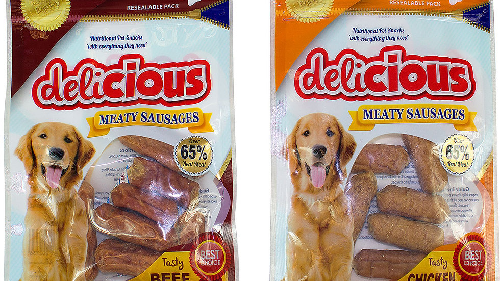 Soft Meaty Sausage dog treats chicken or beef