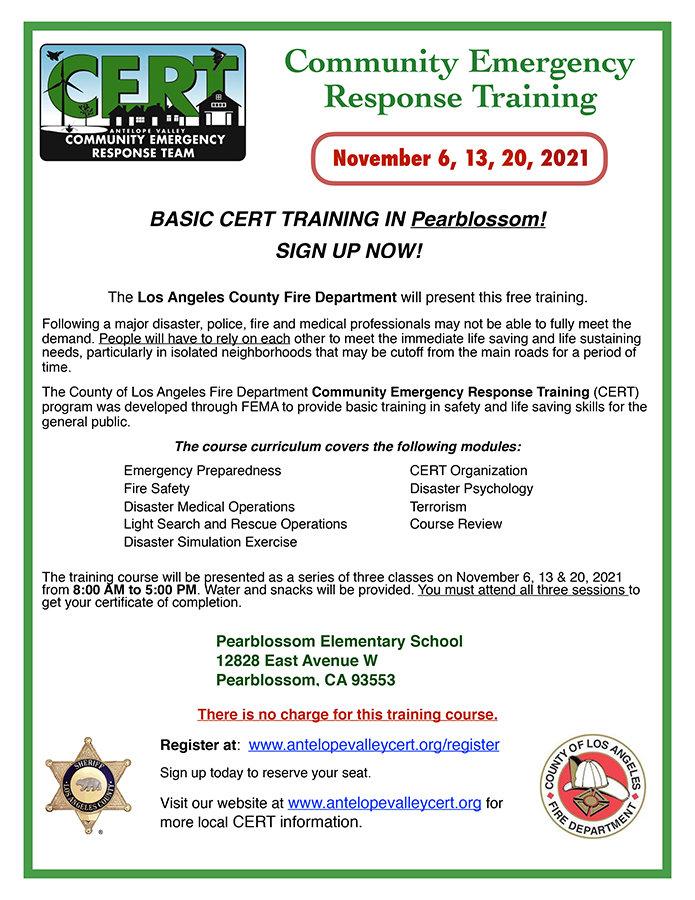 AV CERT Flyer for Basic CERT Training in October 2021