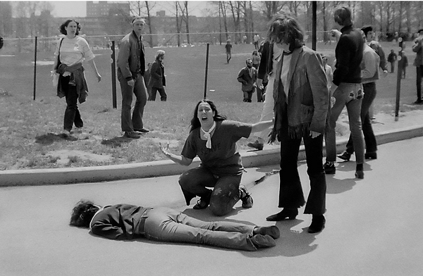 John P. Filo's Pulitzer Prize-winning photo of the 1970 Kent State massacre, Jeffrey Miller and Mary Ann Vecchio pictured
