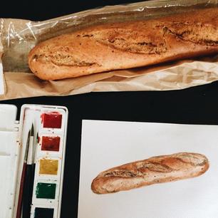 Baguette, Watercolor