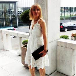 White lace dress w/ snake print sandals