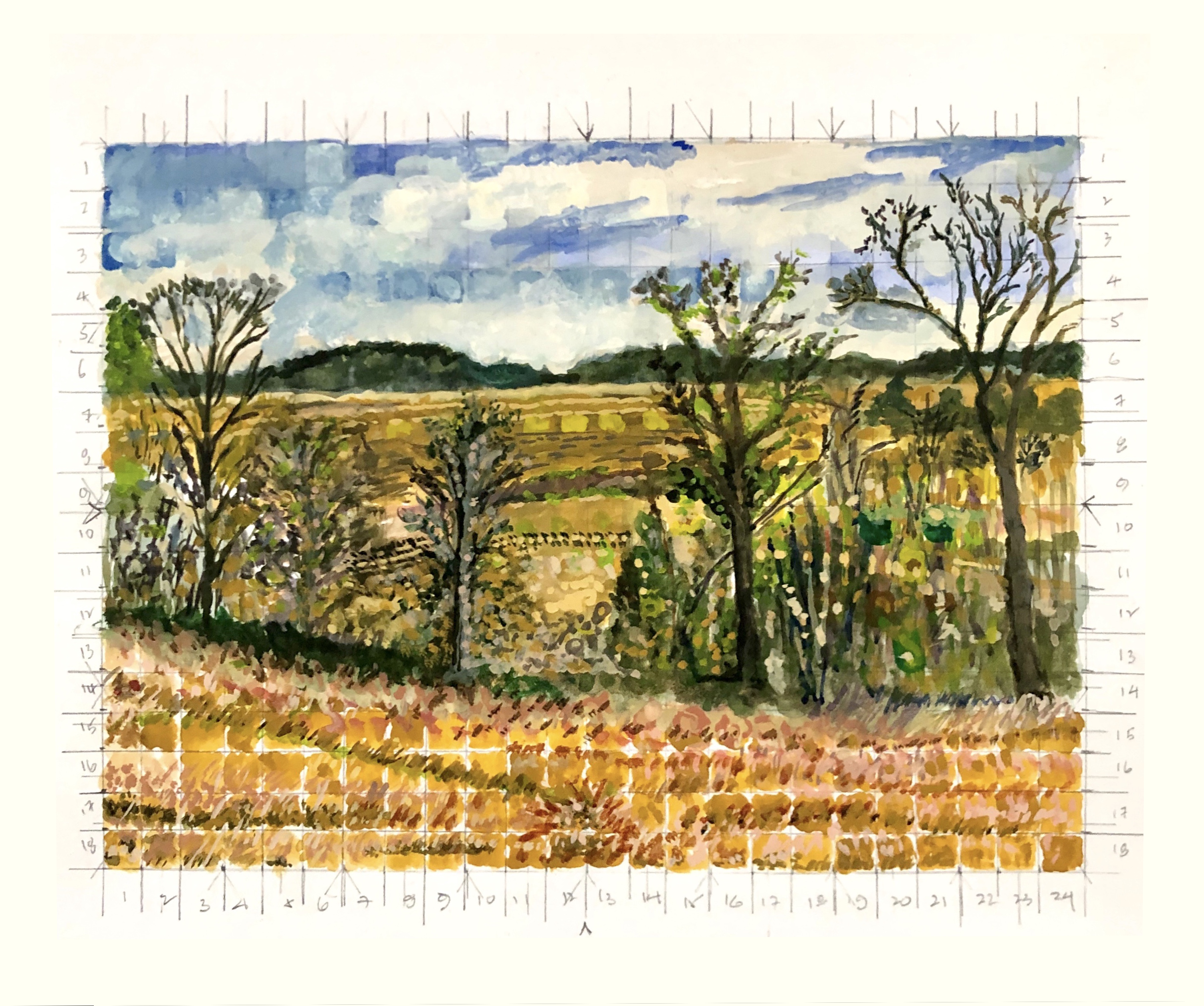 die winterreise, watercolor #3 (Hay Bales)