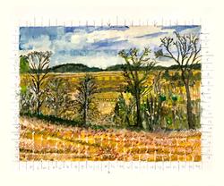 die winterreise, watercolor #3 (Hay Bales)