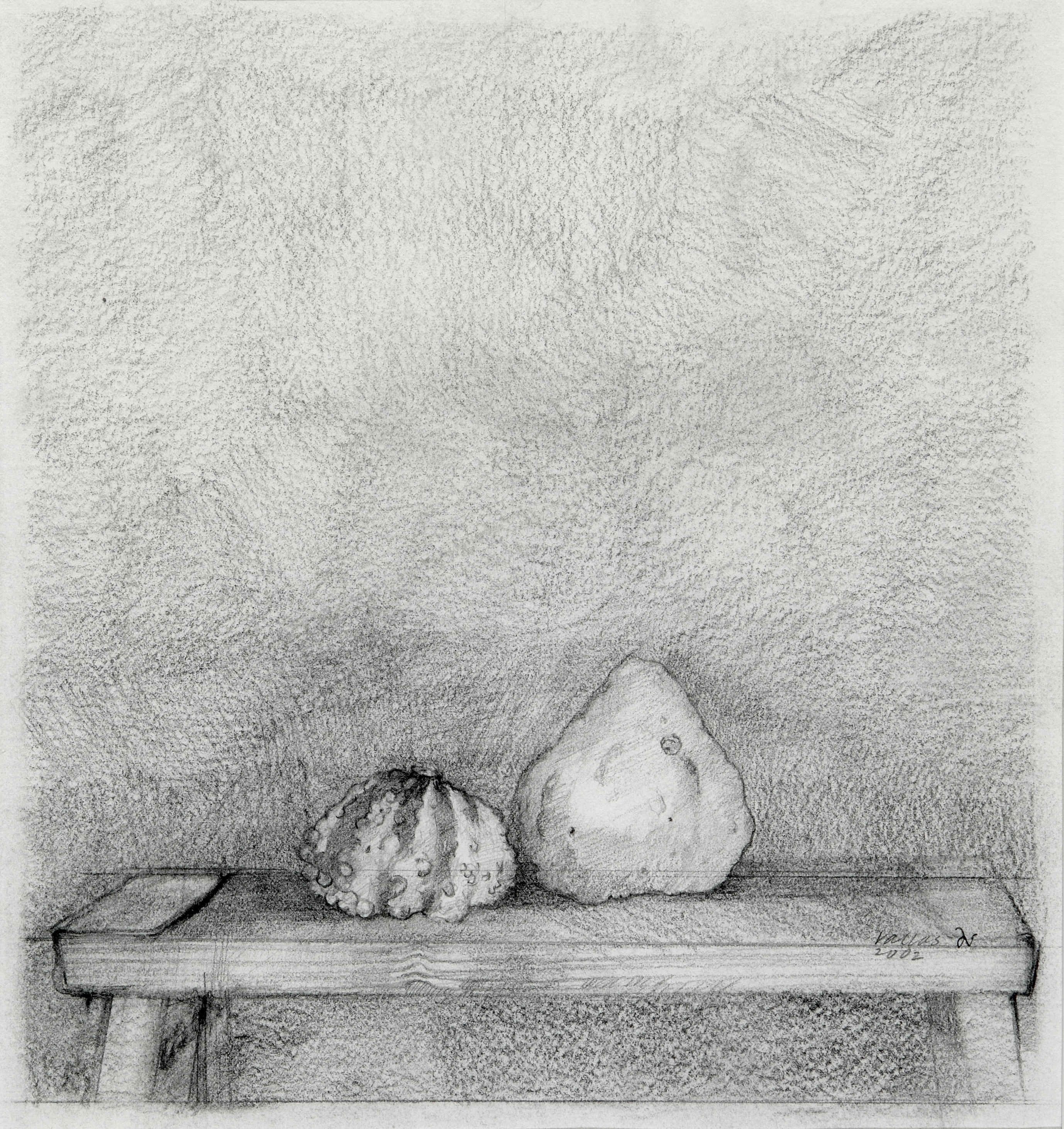 Two Gourds on a Bench