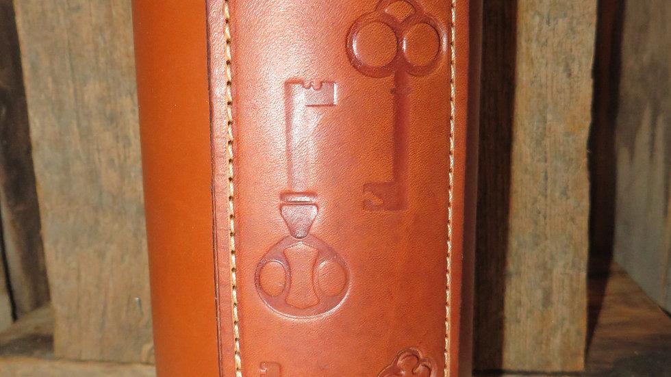 Tooled Leather Wrapped Vase