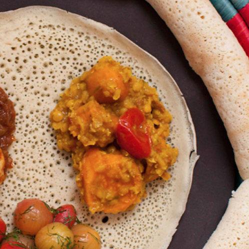 Red lentils and turmeric with s.potato