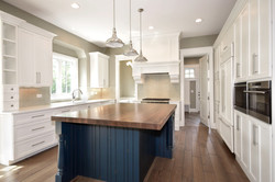 Custom kitchen with navy blue island