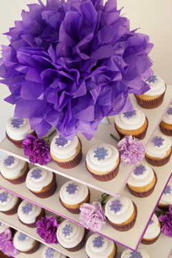 Purple themed wedding display