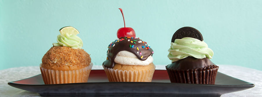 key lime cupcakes, hot fudge sundae cupcakes, mint cupcakes