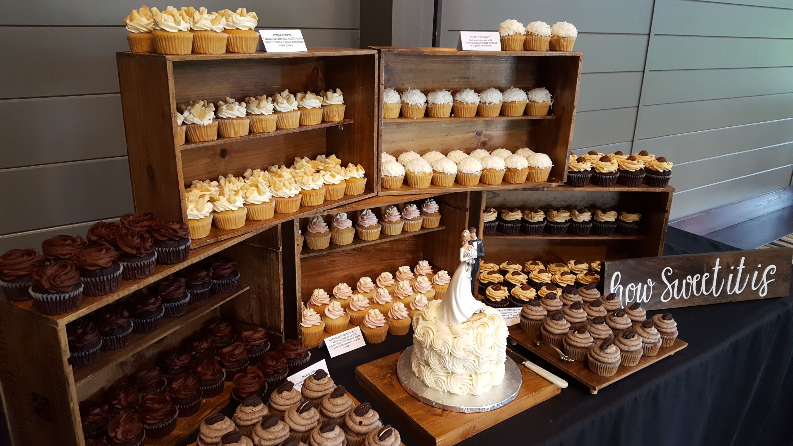 Wine Crate Cupcake Display