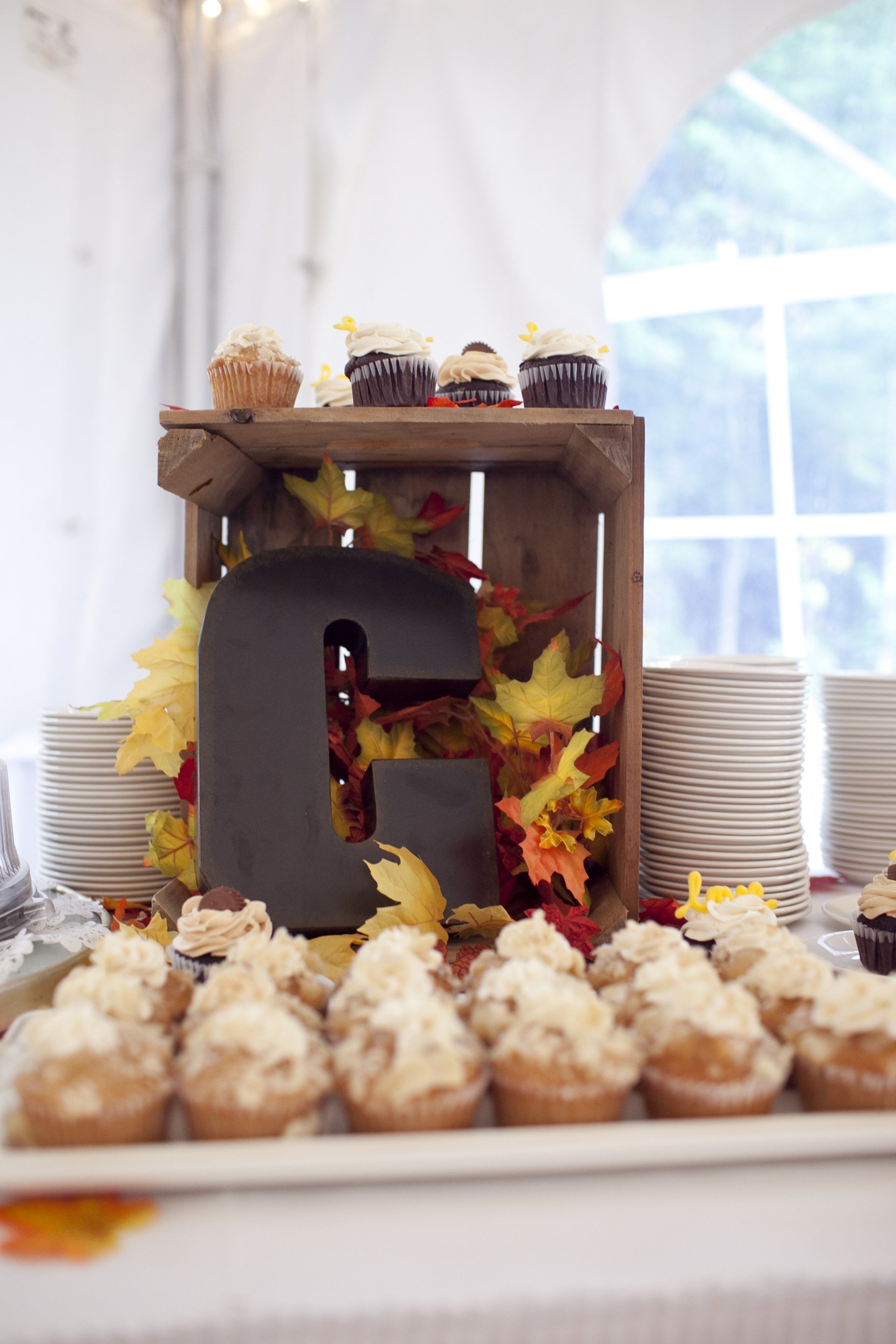 Rustic Fall cupcake display