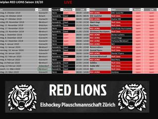 Der Spielplan 19/20 der RED LIONS ist online