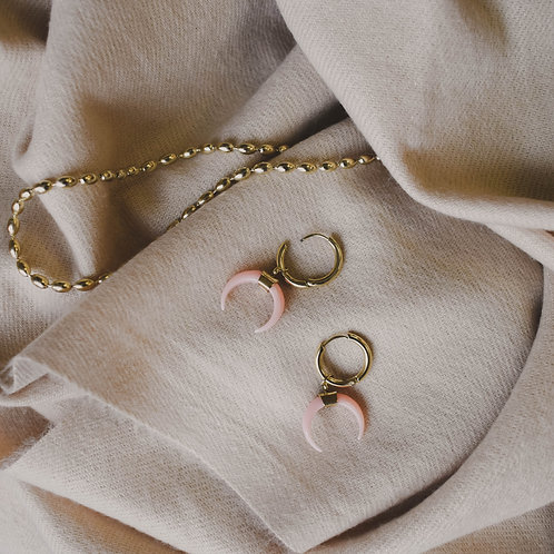 Pink Double Horn Earrings