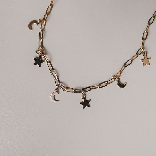 Moon + Star Anklet